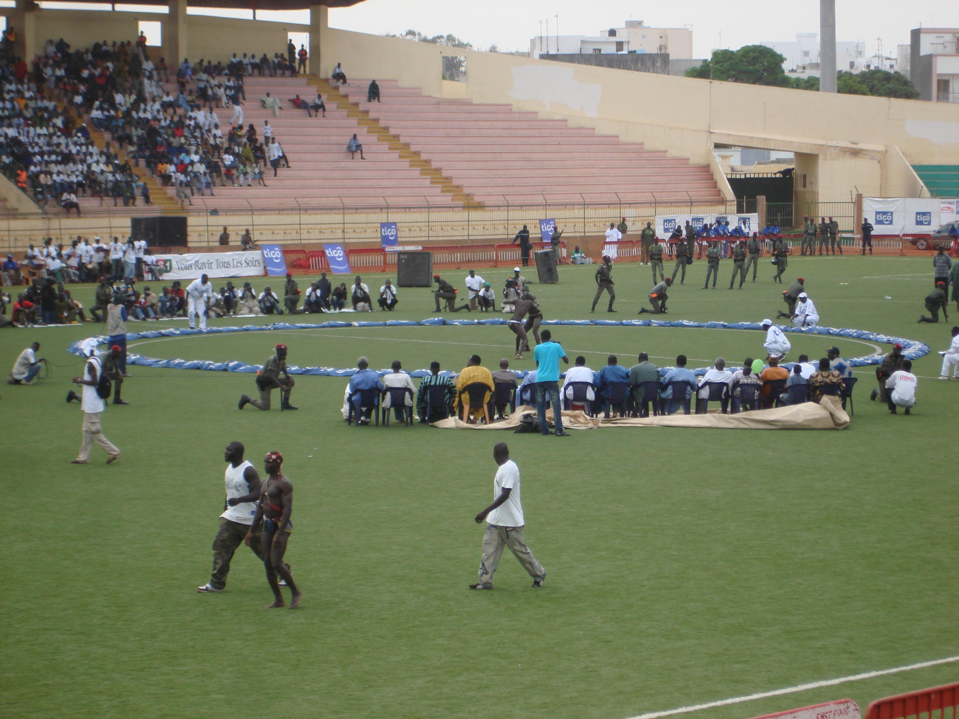 Senegalese wrestling match at the Stade Demba Diop in Dakar, Senegal. Photo taken on February 6, 2006.