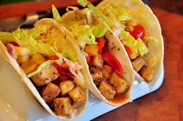 Tea-Smoked Tofu Tacos with Pineapple and Tomato Salsa