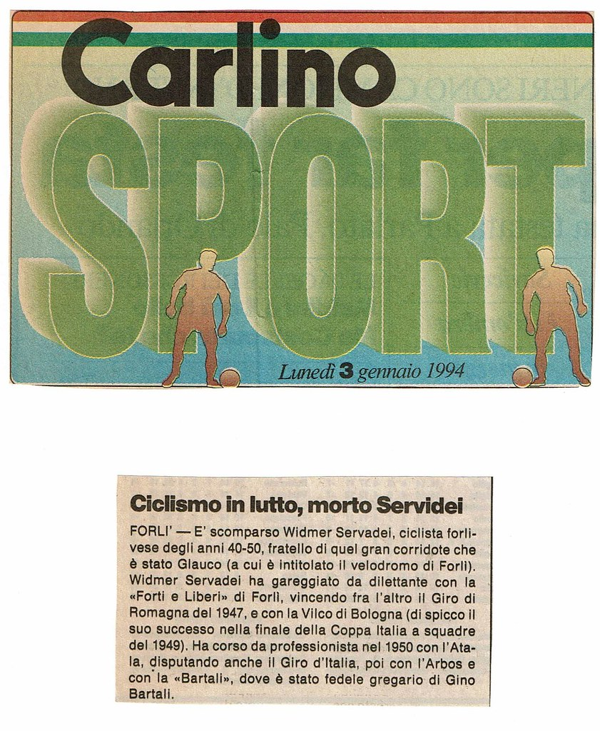 Ciclismo in lutto morto Servadei (articolo) (foto inviata dal figlio Marco)