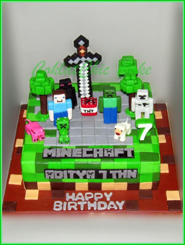 Cake Minecraft ADITYA 24 cm