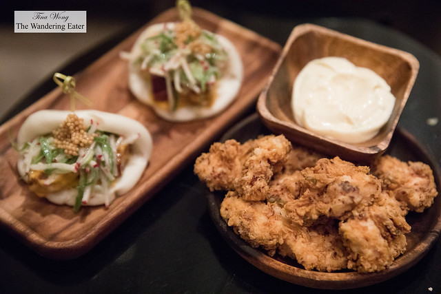 Steamed Buns, Pork Belly, Cucumbers, Spiced Mayonnaise, Mustard Seeds and Buttermilk Fried Chicken Bites, Lime Aioli