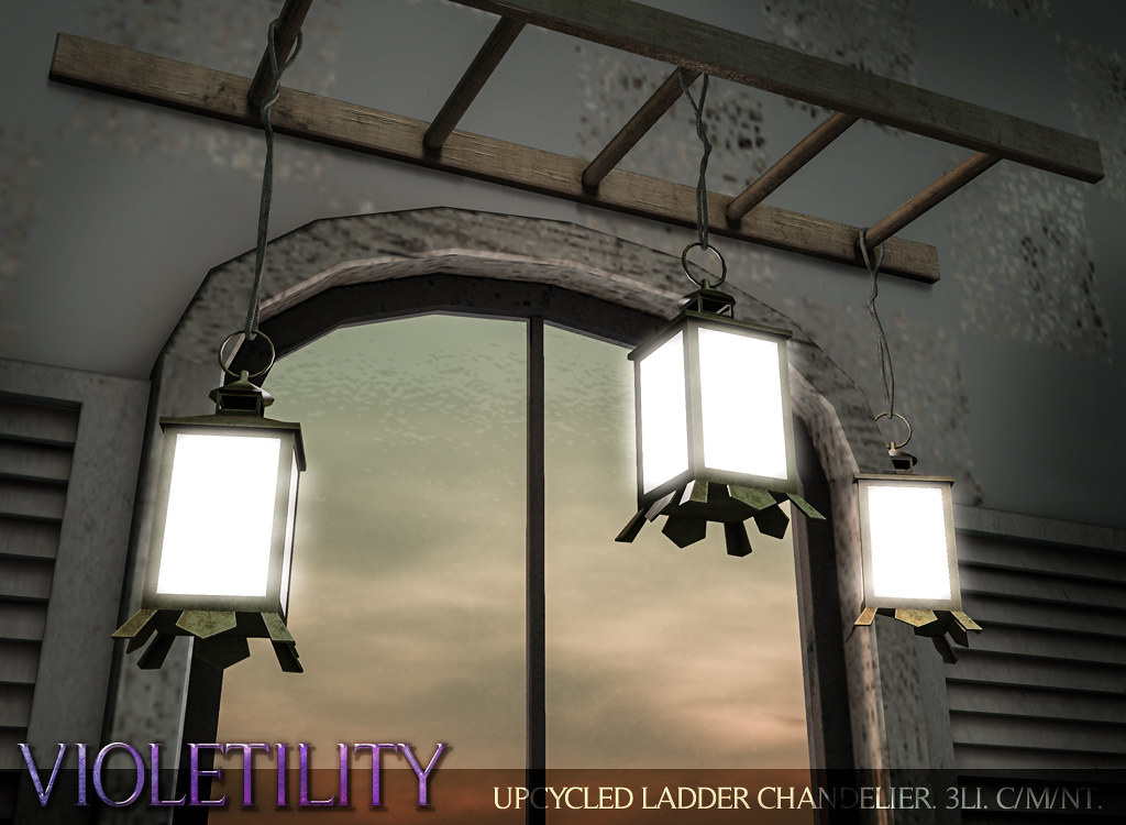 Violetility – Upcycled Ladder Chandelier