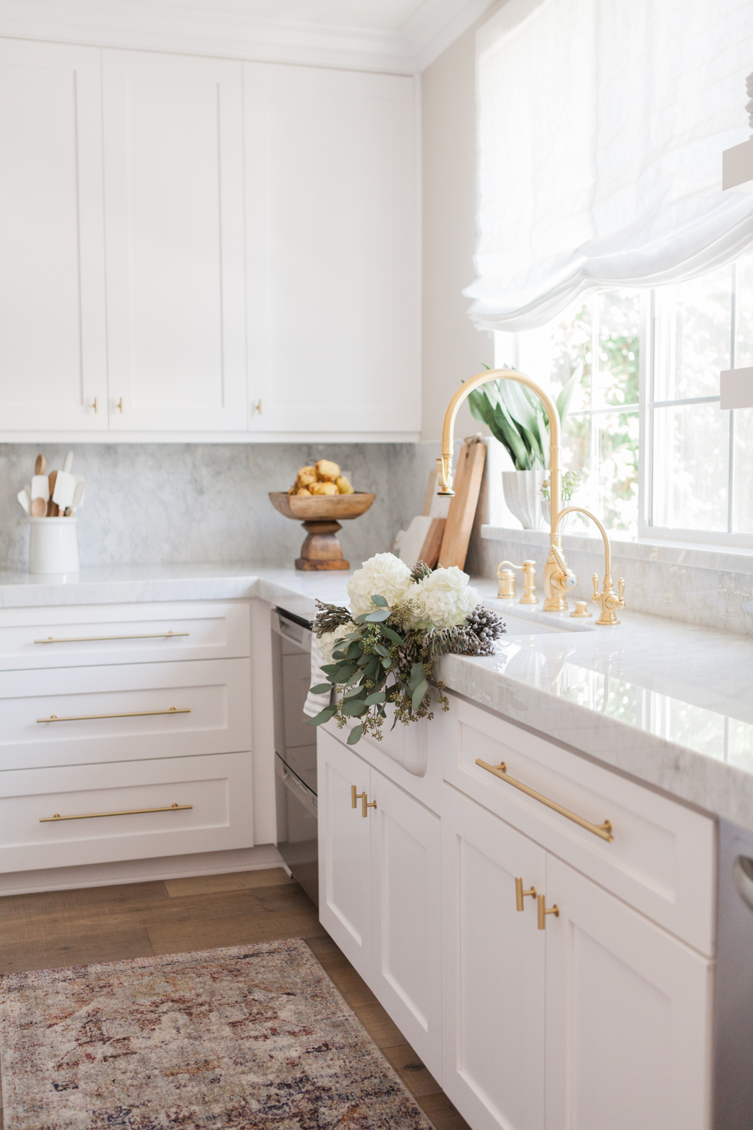 Nicole Davis Interiors White Kitchen Renovation Gold Hardware