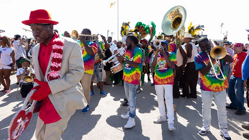 Free Agents Brass Band on Day 1 of Jazz Fest - 4.27.18. Photo by Charlie Steiner.