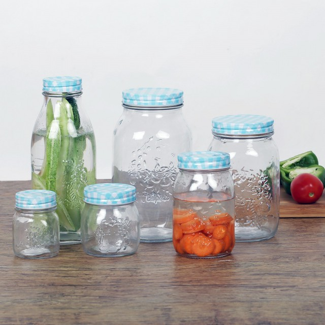 set of 6 glass storage jars