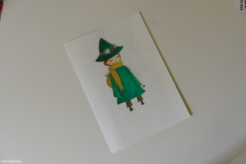 snufkin painting moomins postcard watercolour
