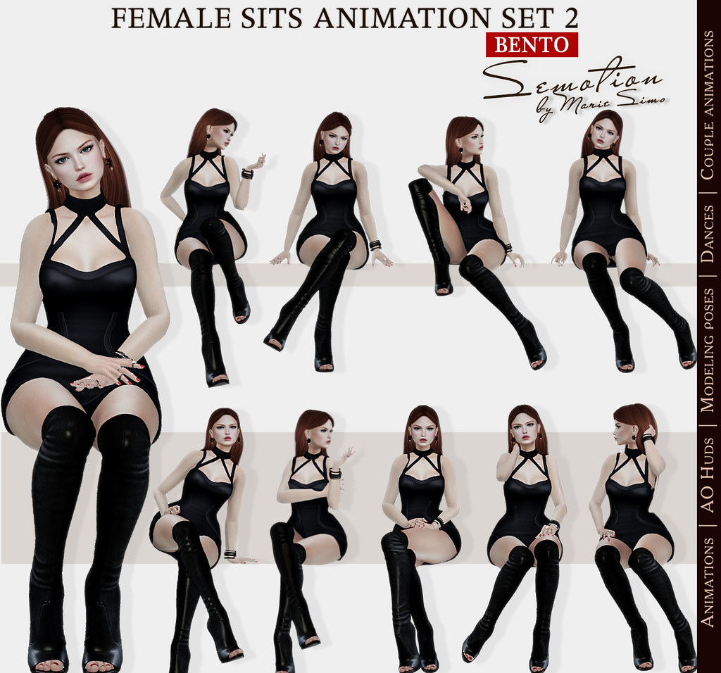 SEmotion Female Sits Set 2 - 10 HQ Bento Animations - TeleportHub.com Live!