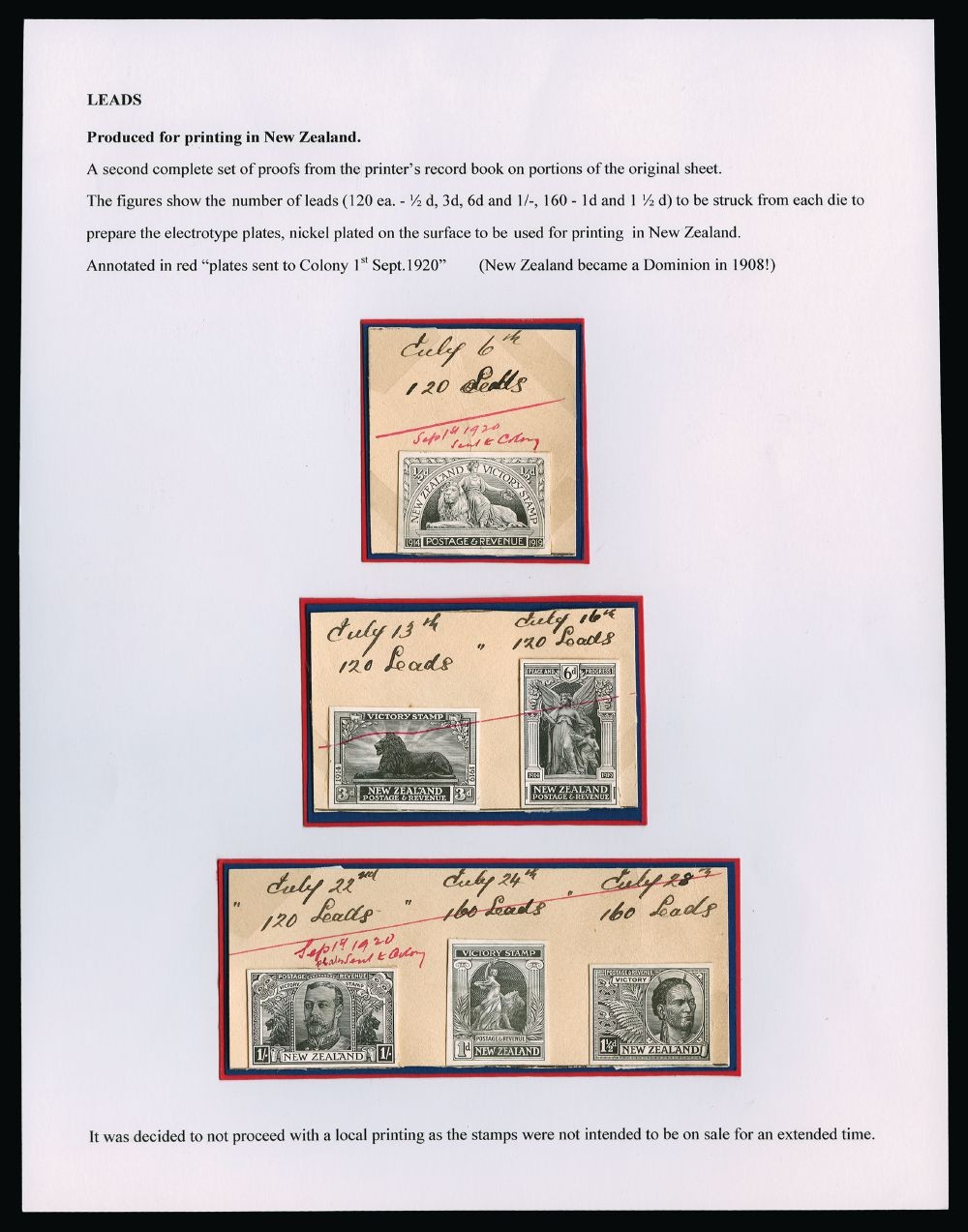 NEW ZEALAND 1920 SG453/8 Proof: 1920 (July 6 - 28) set of six stamp-size die proofs in black on glazed card for the 1920 Victory issue, affixed to three pieces from the De La Rue day book, each with M/S dates and details of the leads taken (160 for 1d, 1½d; 120 for other values). The pieces additionally with diagonal line and endorsement 'Sep 1st 1920 Sent to Colony' in RED M/S (except 3d & 6d piece without date), being the invoice date for the plates. A unique and important record, documenting the manufacture of a second set of plates intended for local printings. Image courtesy of Stanley Gibbons Ltd.