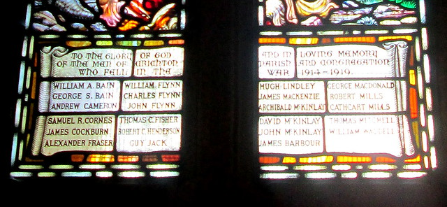 Wording on Stained Glass War Memorial, Crichton Collegiate Kirk,
