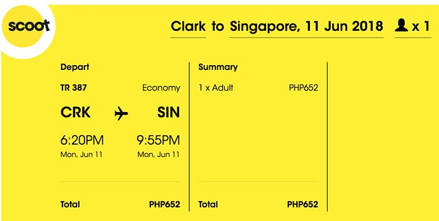 Scoot Clark to Singapore June 11, 2018