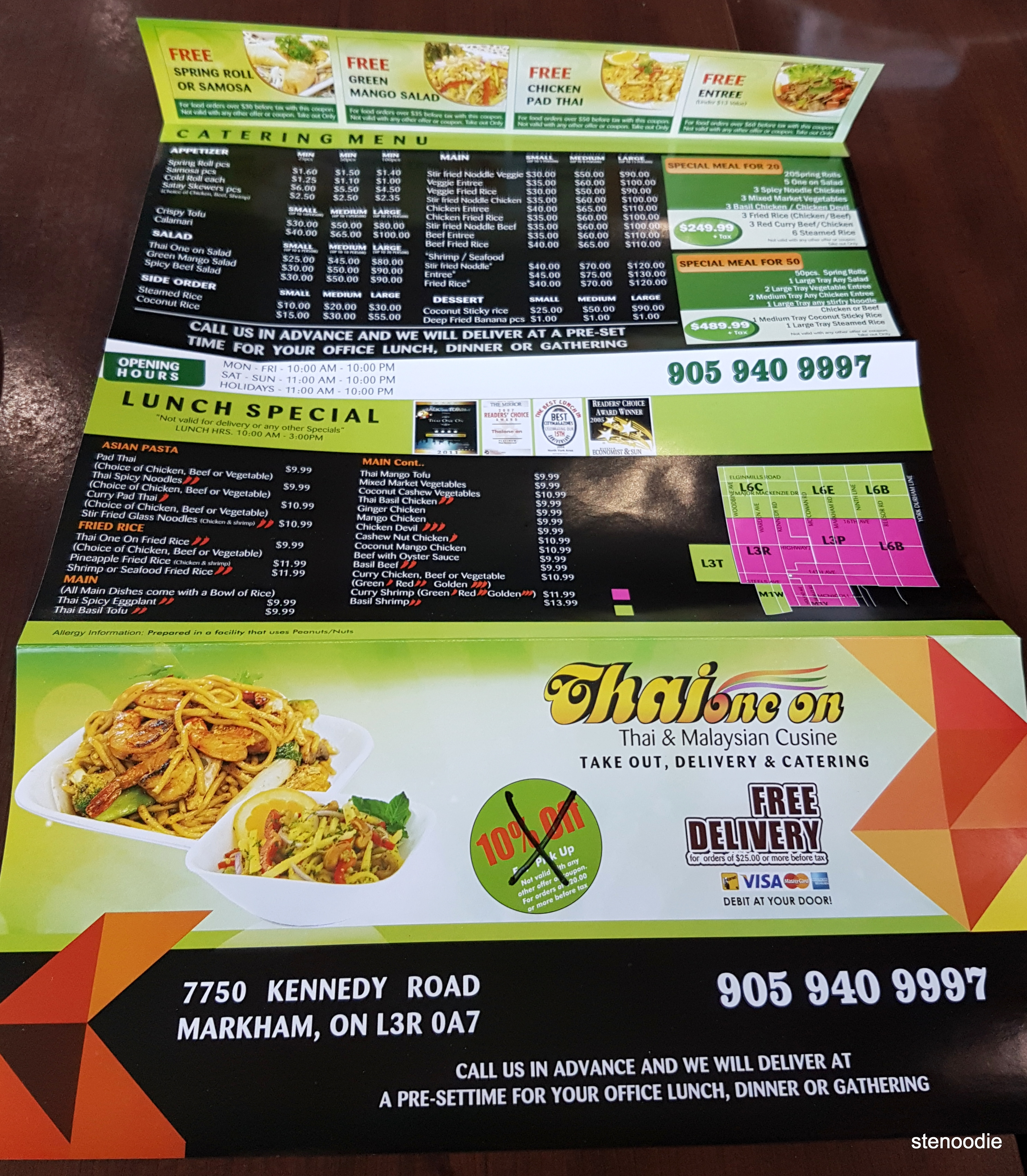 Thai One On menu and prices