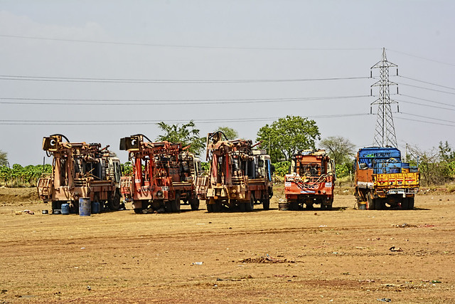 Private boring machines near Saja in Bemetara district. The district administration has issued orders to stall all borewell digging operations done without approval. Over exploitation of groundwater in the district has led to acute water crisis.