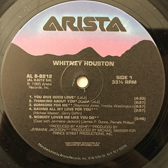 WHITNEY HOUSTON:WHITNEY HOUSTON(LABEL SIDE-A)