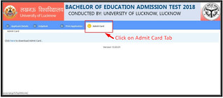 UP Bed admit Card- Click on admit card tab