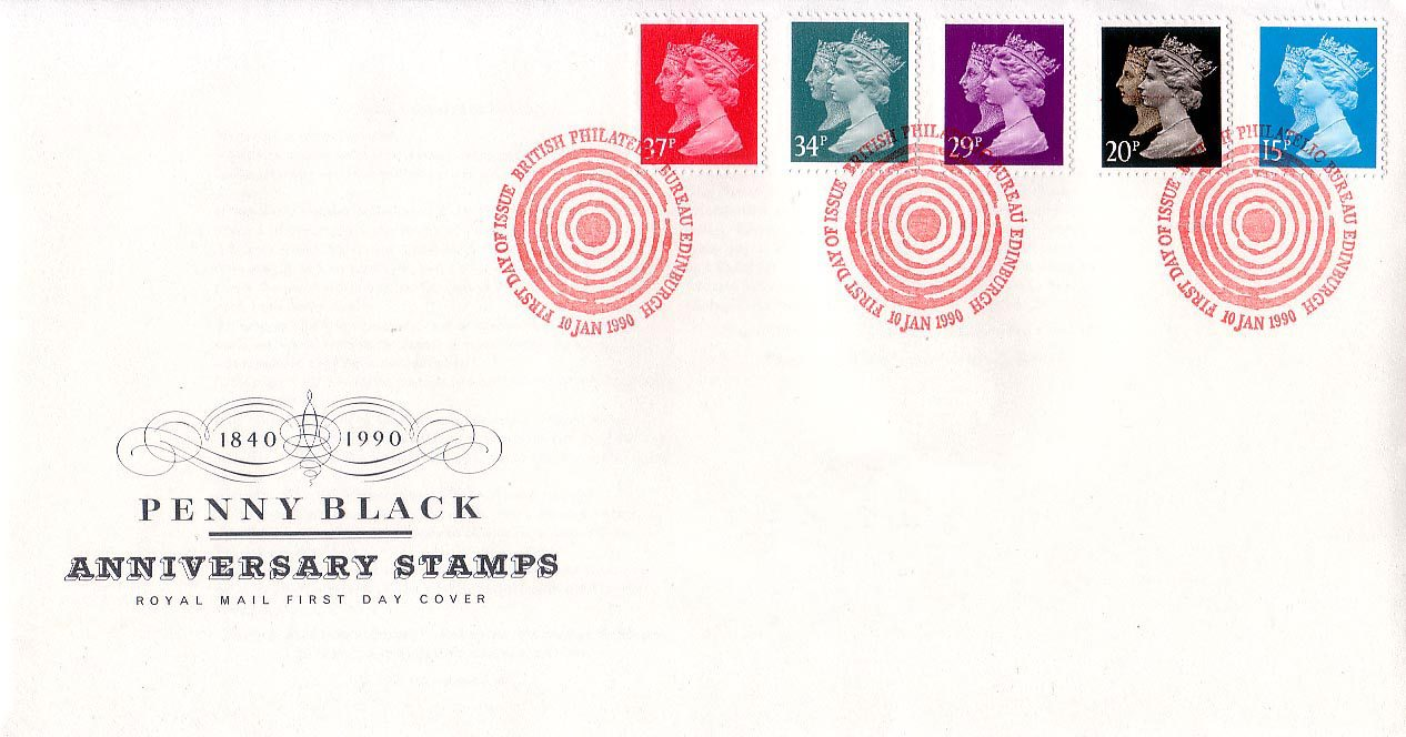Great Britain - Scott #MH190, MH193, MH196-198 (1990) on first day cover from the Royal Mail Philatelic Bureau in Edinburgh. The stamps appear in reverse order of denomination and catalogue number on this cover.