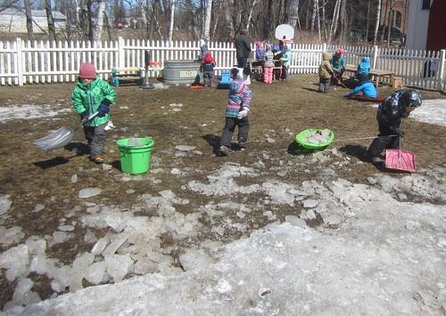 hauling away the ice