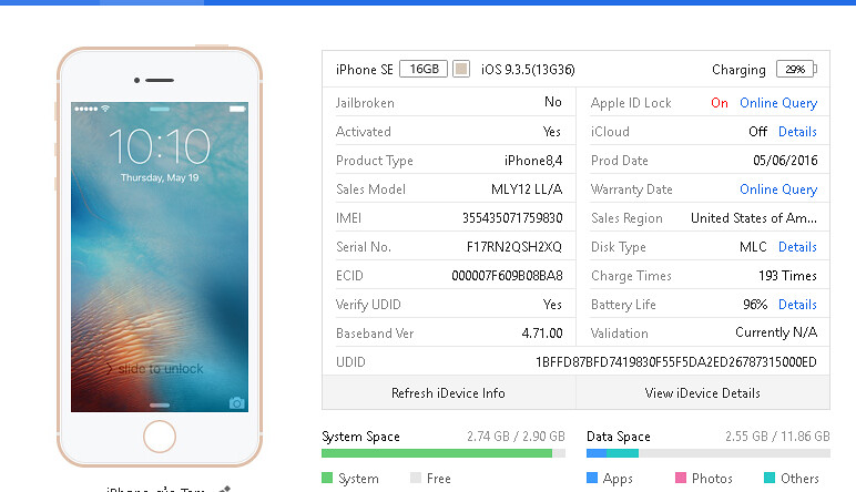 Bán iphone SE 16gb Gold iOS 9 3 5, box, như mới - 4 200 000đ