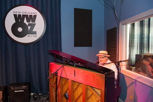John Papa Gros at WWOZ for French Quarter Fest Day 2 - April 13, 2018. Photo by Michael E. McAndrew Photography.