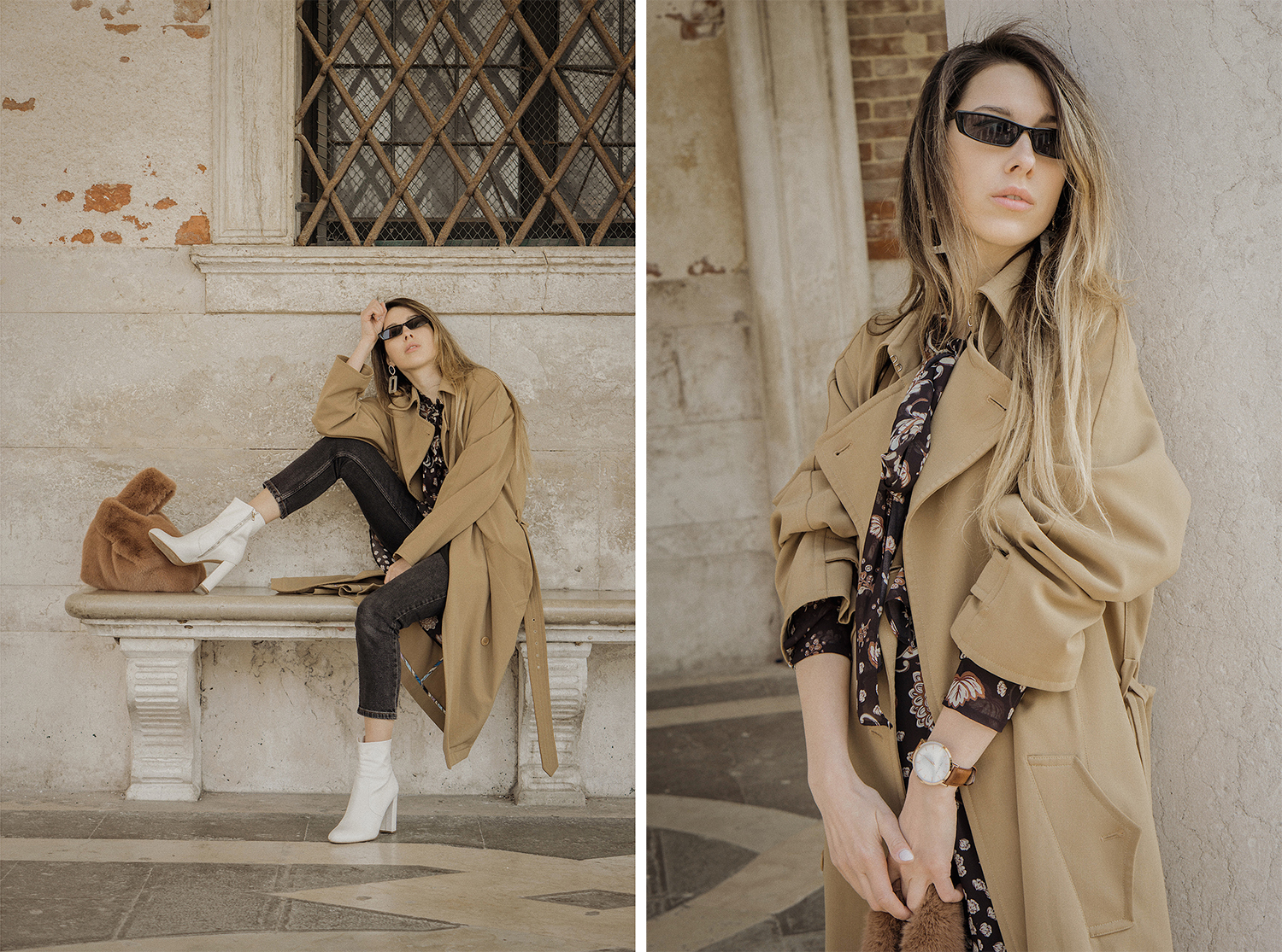 trench_coat_white_boots_dress_with_jeans_venice_italy_fur_bag_fashion_lenajuice_thewhiteocean_06