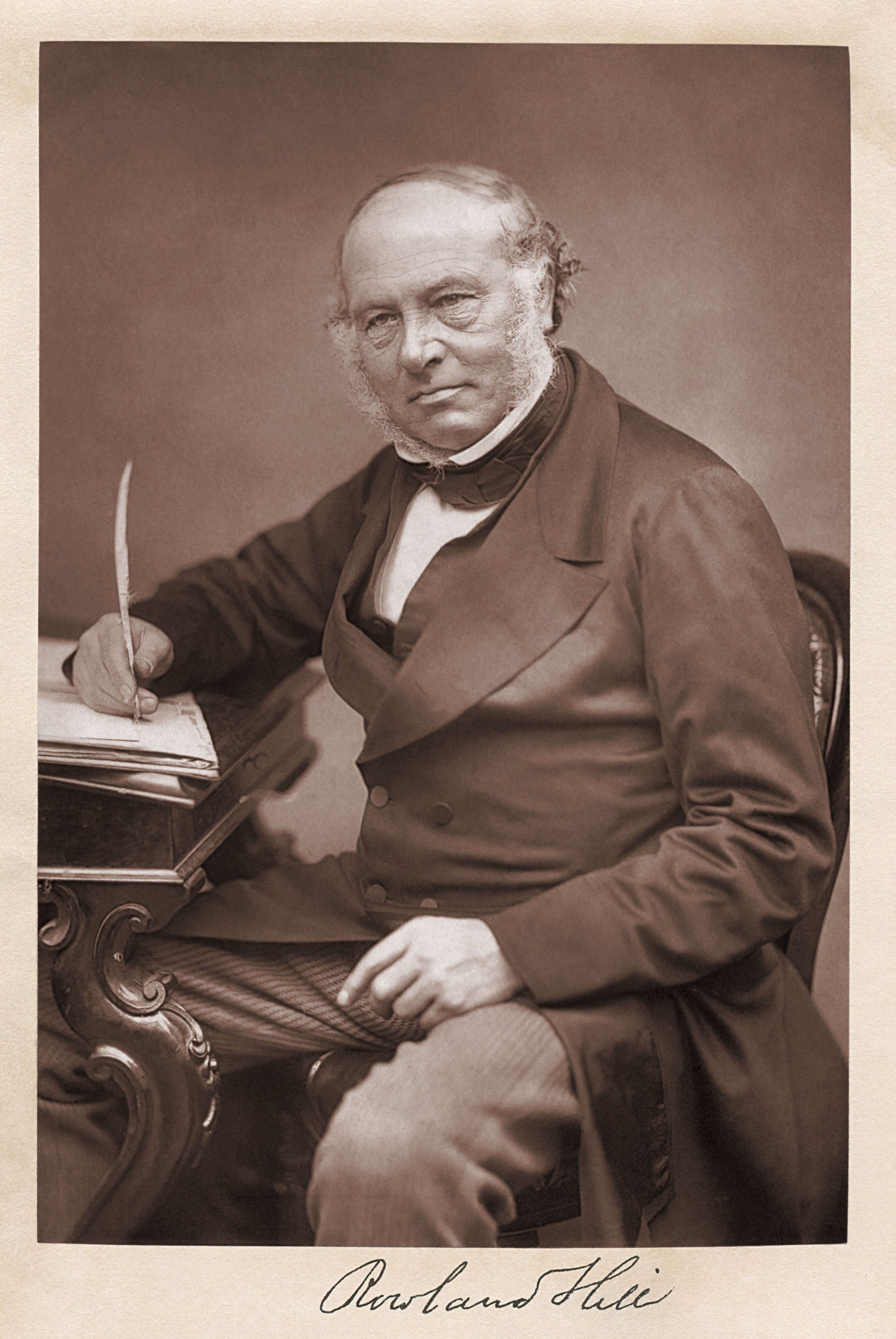 Photo and signature of Rowland Hill, as reproduced on the frontispiece of