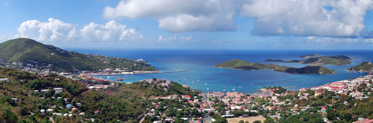 Panoramic view of Charlotte Amalie, the capital of the United States Virgin Islands, located on the island of Saint Thomas. Viewed from Lookout Point on Skyline Drive (Route 40). Photo taken on July 25, 2015 by Matt H. Wade.