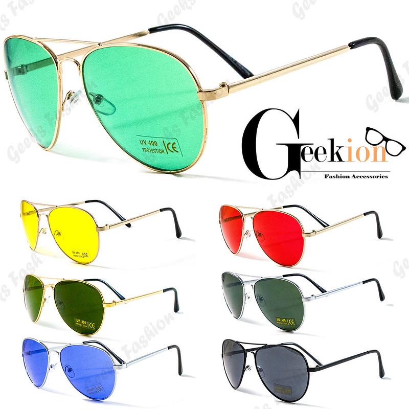 9ea1f53880220 Mens Womens Fashion Designer Gun Aviator Police Pilot Retro Colors  Sunglasses. Product Detail. ray ban style sunglasses