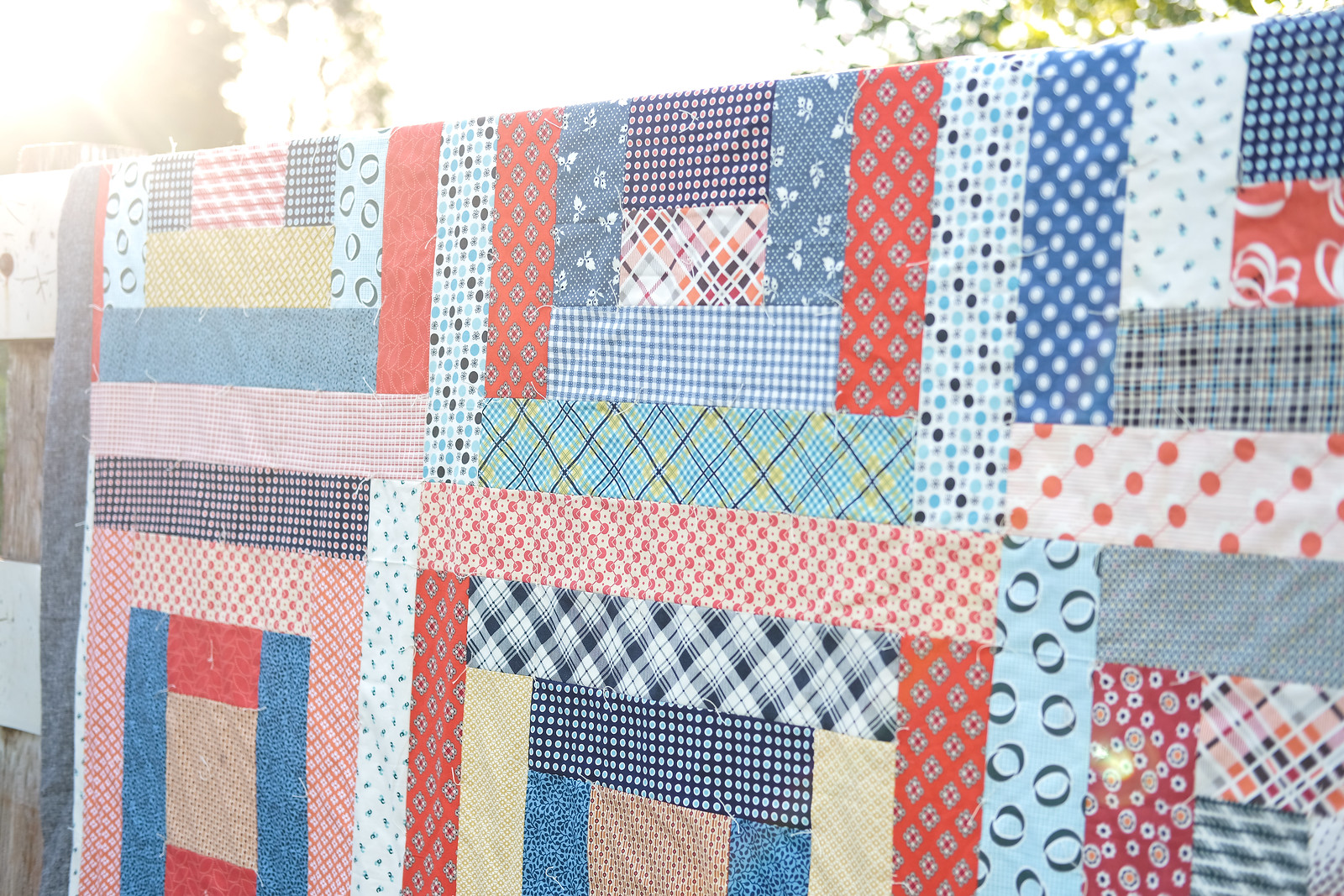 May Giant Block Picnic Quilt made with Denise Schmidt Fabrics - Kitchen Table Quilting