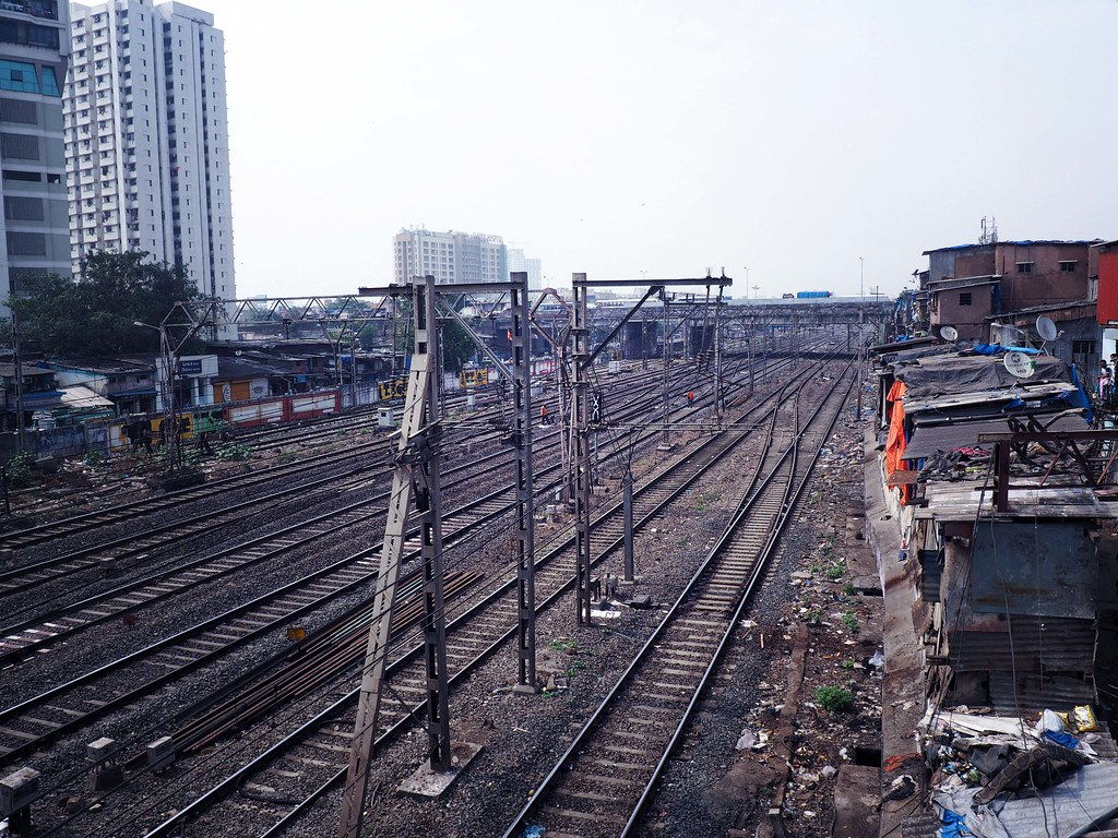 Train Tracks India Slums Mumbai_effected
