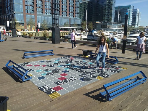 A public scrabble board set up on one of the piers at the Wharf District, Southwest DC