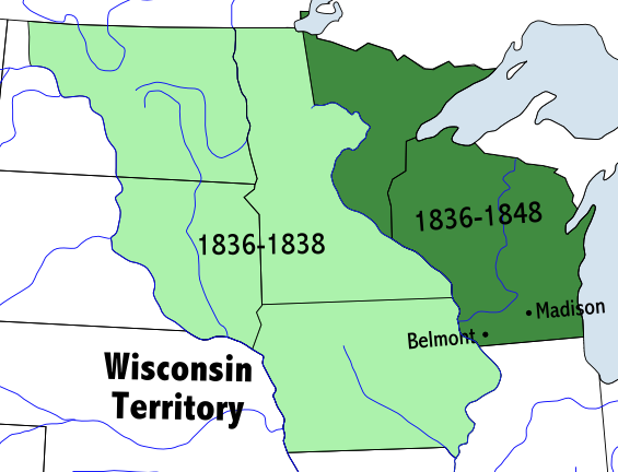 Map of the Wisconsin Territory 1836 - 1848