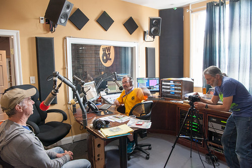 Zachary Richard in the studio with Ron Phillips and Charlie Steiner  for Day 2 of French Quarter Fest - 4.13.18. Photo by Michael E. McAndrew Photography.