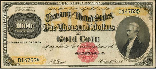 1882 $1000 Gold Certificate front