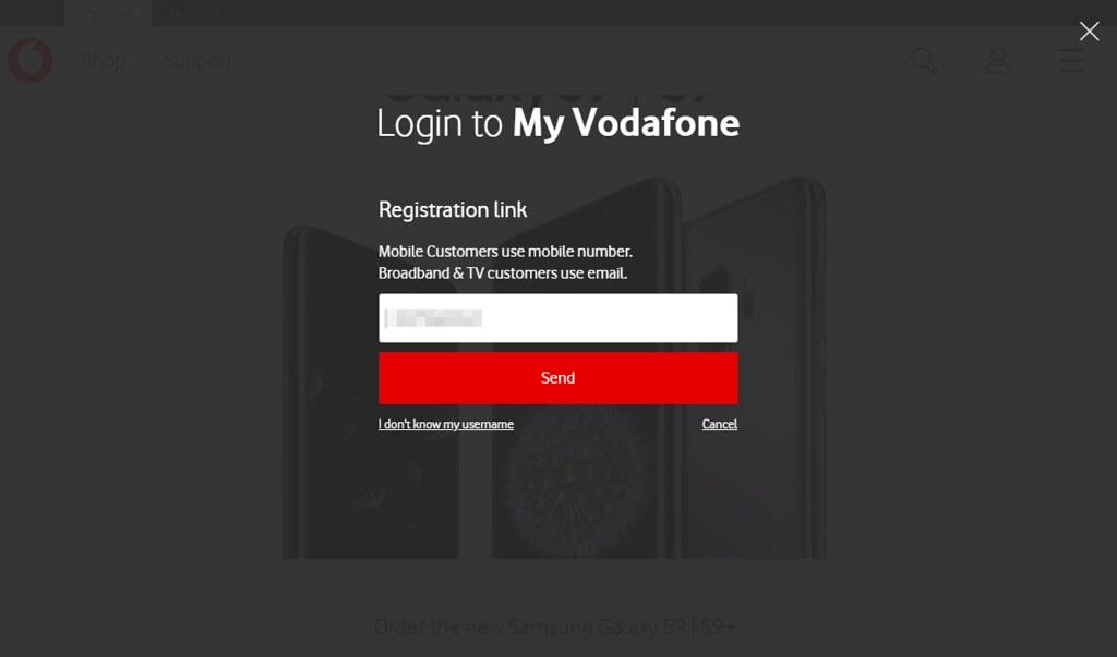 Vodafoneセットアップ画面1