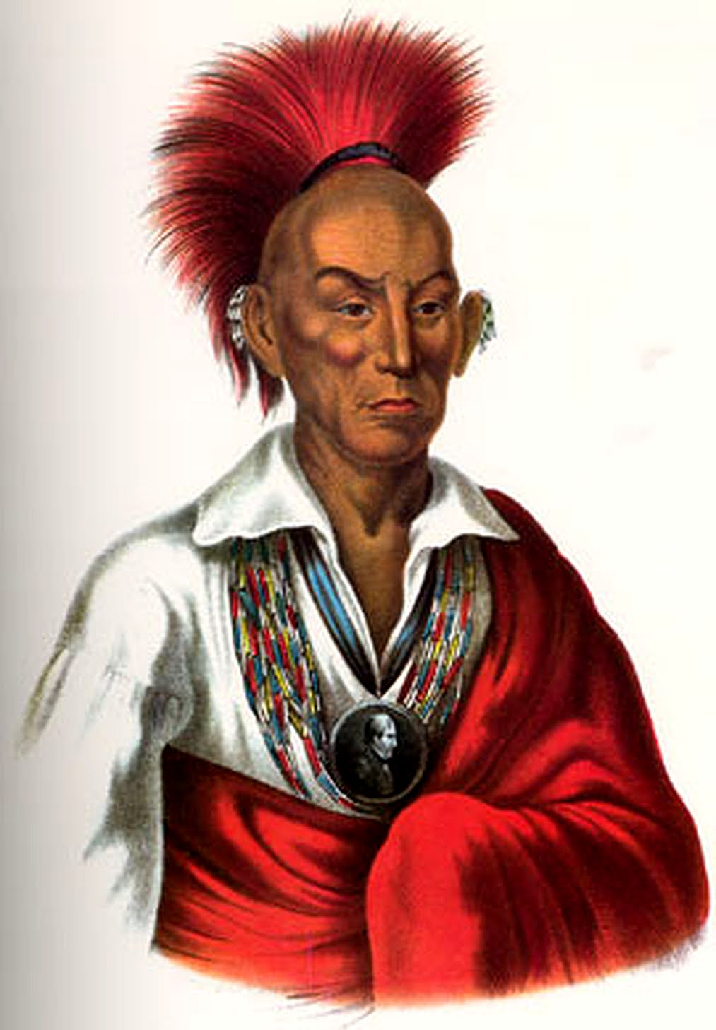 Sauk Chief Makataimeshekiakiah (Chief Black Hawk), painted 1837 and published in History of the Indian Tribes of North America -- a three-volume collection of Native American biographies and accompanying lithograph portraits originally published in the United States from 1836 to 1844 by Thomas McKenney and James Hall. The majority of the portraits were first painted in oil by Charles Bird King. McKenney was working as the US Superintendent of Indian Trade and would head the Office of Indian Affairs, both then within the War Department.