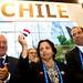 Alejandro Marisio, la entonces ministra de Minería Aurora Williams y Jorge Mas, en la inauguración del pabellón de Chile en la feria