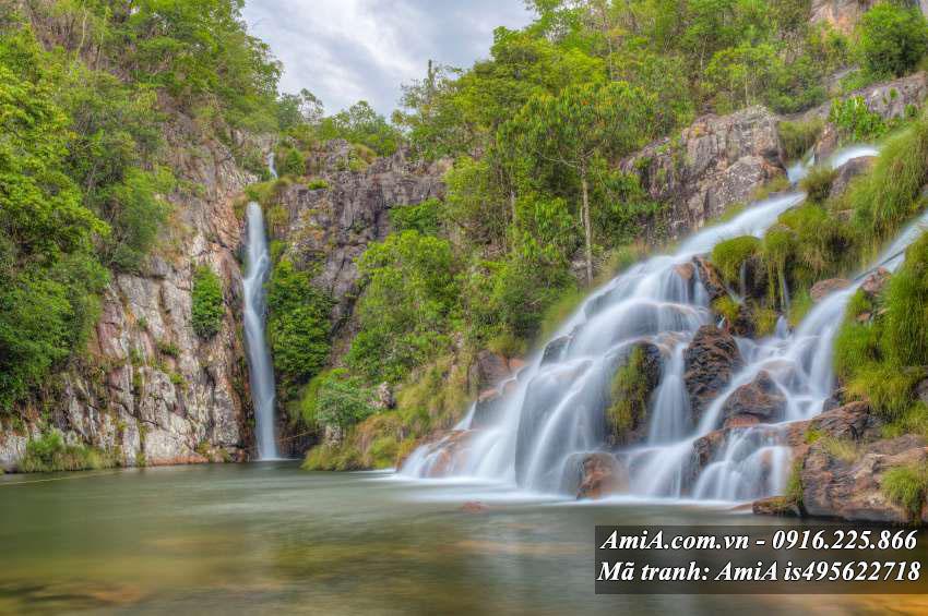 Tranh cảnh đẹp thiên nhiên thác nước rừng cây