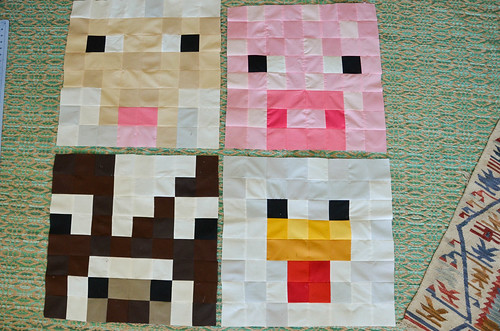 7. Sew together remaining rows, and repeat for 3 remaining animal quadrants.
