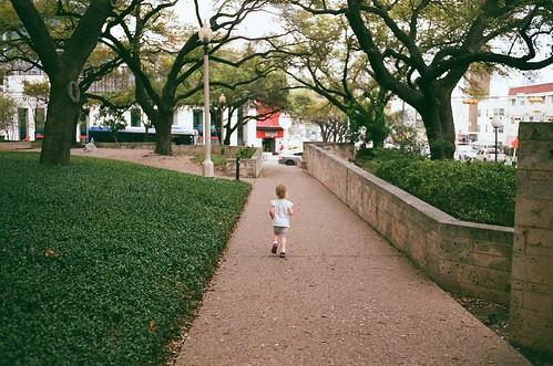 Running through campus.