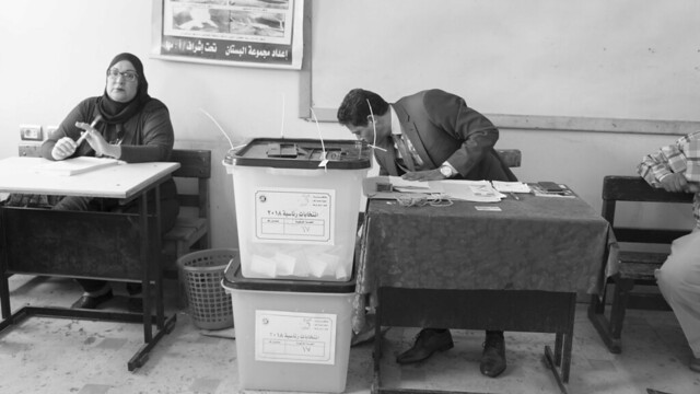 Ballot boxes at a polling station in Egypt's Presidential elections 2018