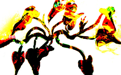 Chinese New Year Dragon Dancers layered with a watercolour sketch of a Philodendron, hard mix applied