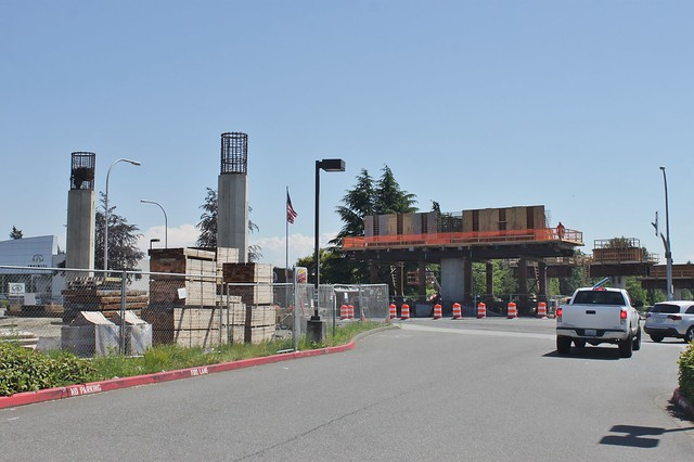 Wilburton Station construction, May 2018