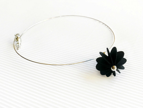 Modern Paper Flower Necklace by Alfieri Jewel Design