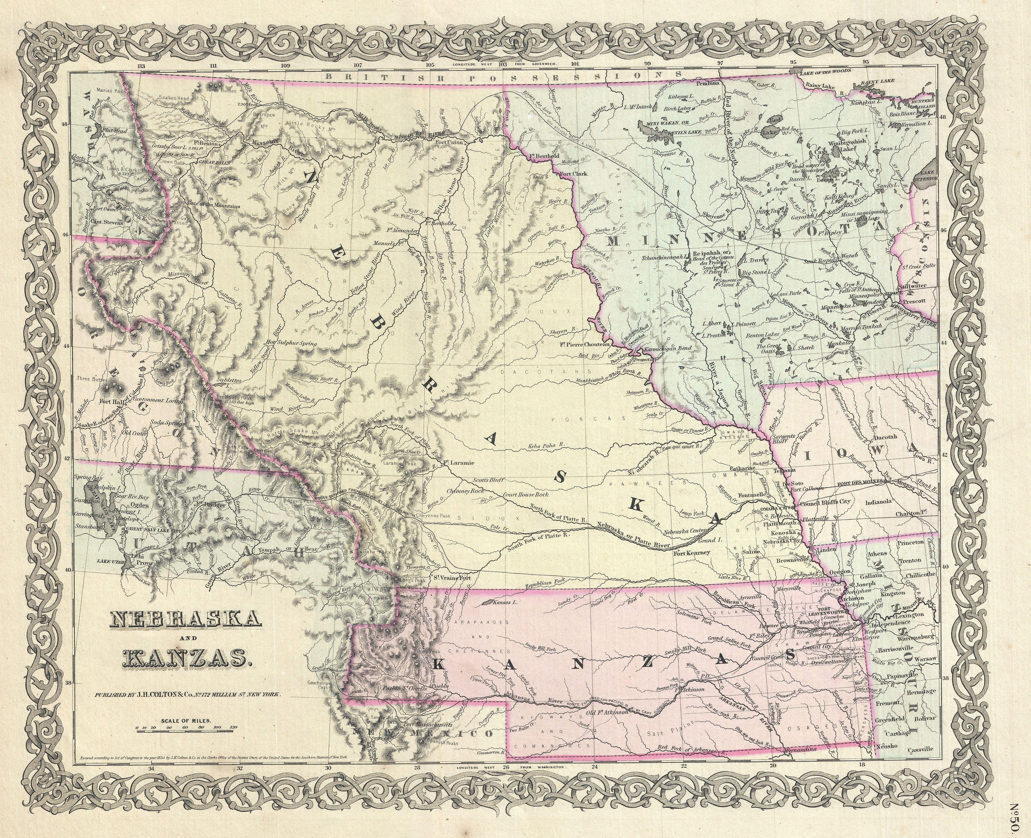 Colton's map of Nebraska and Kansas, 1855 (first edition), based on an earlier wall map produced by Colton and D. Griffing Johnson. The map details the regions between the Great Salt Lake and Iowa and between the Canadian Border and New Mexico and covers territorial Kansas and Nebraska as well as parts of adjacent Minnesota, Iowa, Missouri and Utah. When this map was printed Nebraska and Kansas had only recently been opened for settlement. Both regions were sparsely inhabited by the diverse yet powerful Indian nations of Comanches, Kioways, Arapahoes, Cheyennes, Sioux, Dacotahs, Poncas, Pawnee's, Omahas, Missouris, Delawares, Shawnee, Osages, Crow, Black, and others - whose territorial claims Colton notes. Colton also notes three of the routes proposed for the Pacific Railroad, the Stevens route far to the north, the Beswith route running through the center of the map, and the Gunnison Route passing through Kansas. This map further identifies various forts, rivers, mountain passes, fords, and an assortment of additional topographical detail. Map is hand colored in pink, green, yellow and blue pastels to define territory and state boundaries. Surrounded by Colton's typical spiral motif border. Dated and copyrighted to J. H. Colton, 1855. Published from Colton's 172 William Street Office in New York City. Issued as page no. 50 in volume 1 of the first edition of George Washington Colton's 1855 Atlas of the World .