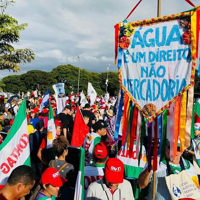 Movimentos sociais denunciaram a postura entreguista do governo Temer durante o Fórum Alternativo Mundial da Água, em março deste ano  - Créditos: (Fórum Alternativo Mundial da Água / FAMA)