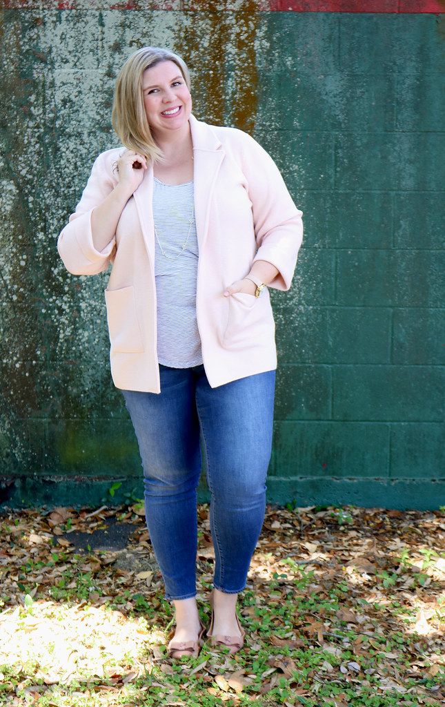blush sweater cardigan, skinny jeans, black and white stripe luxe tank, bow flats 7
