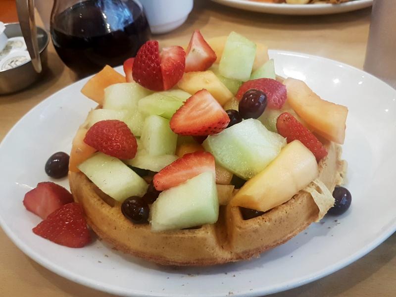 Sunset Grill fruit waffle