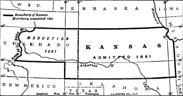 Changes to the boundaries of Kansas Territory, 1854-1861.