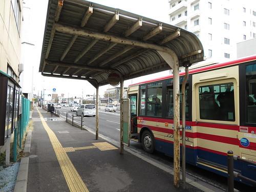 福島競馬場近くの年金事務所入口バス停