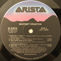 WHITNEY HOUSTON:WHITNEY HOUSTON(LABEL SIDE-B)