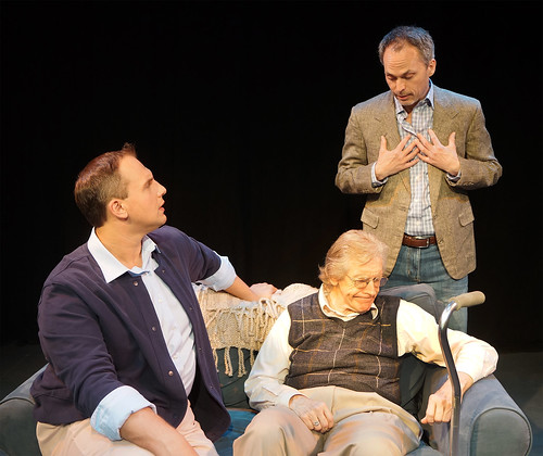 "from left Alexander Mrazek, J.D. Sutton (seated), and Steven Lane. ""The Luckiest People"" at the Orlando Shakespeare Theater"
